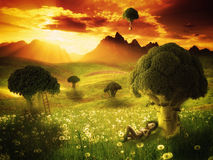 Fantasy - broccoli land royalty free illustration