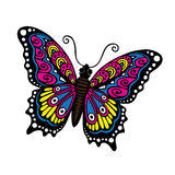 Fantasy Butterfly. Colorful sixties rock poster imagery Royalty Free Stock Photography