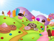 Fantasy candyland with dessrts and sweets Royalty Free Stock Images