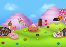 Fantasy candyland with dessrts and sweets Royalty Free Stock Photography