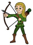 Fantasy cartoon - elvish archer vector illustration