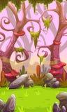Fantasy cartoon forest landscape. Royalty Free Stock Image