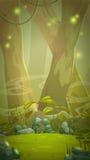 Fantasy cartoon forest scene. Stock Photos