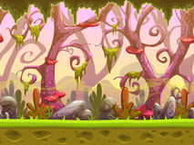Fantasy cartoon forest seamless landscape vector illustration