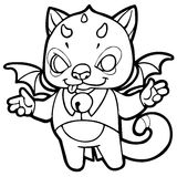 Fantasy cartoon kitten with horns, wings and bells Royalty Free Stock Photography
