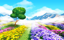 Fantasy cartoon landscape. Fantasy floral cartoon 3d landscape. Colorful field of flowers, a tree and a light haze. 3d illustration Royalty Free Stock Photos