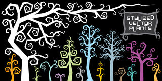 Fantasy Cartoon Stylized Plants and Tree. Vector Royalty Free Stock Photography