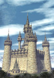 Fantasy castle. A fantasy castle with a cloudy background in 3d royalty free illustration
