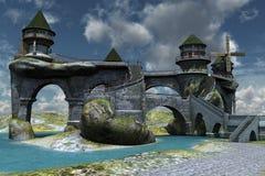 Fantasy castle. 3D rendered fantasy beautiful ancient castle illustration Stock Photo