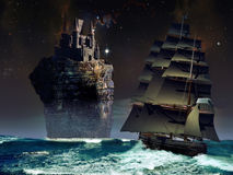 Fantasy castle. Sailboat approaching a high vertical rock with a medieval castle at its top Royalty Free Stock Image