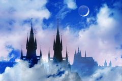 Fantasy castle. Czech Republic, Prague, silhouette of high section of Tyn church at night stock images