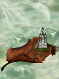 Fantasy Castle. Castle in a leaf with doves