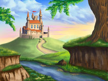 Fantasy castle. A fantasy castle in a gorgeous landscape. Original digital illustration vector illustration
