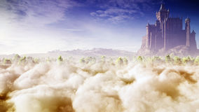 Fantasy Castle In The Clouds. Beautiful and majestic fairy tale concept scenery with fantasy castle above the soft fluffy clouds. A high quality concept artwork Royalty Free Illustration