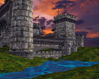 Fantasy castle with clouds Royalty Free Stock Images