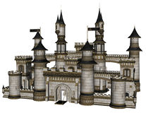 Fantasy Castle. 3D rendered illustration of fantasy castle on white background isolated Royalty Free Stock Photo