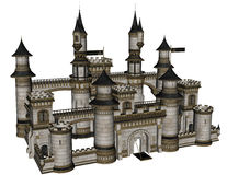 Fantasy Castle. 3D rendered illustration of fantasy castle on white background isolated Stock Image