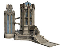 Fantasy Castle. 3D rendered fantasy castle on white background isolated Stock Photo