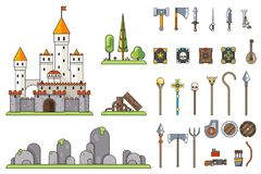 Fantasy Castle Game Weapons Screen Concept Adventurer RPG Flat Design Magic Fairy Tail Icon Template Vector. Fantasy Castle Game Weapons Screen Concept royalty free illustration