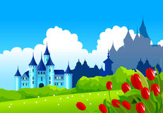 Fantasy castle on green landscape Stock Photos
