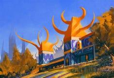 Fantasy castle,illustration digital painting Stock Image