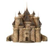 Fantasy castle. Medieval fantasy castle on white stock illustration