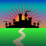 Fantasy castle in the morning. Vector. Illustration Royalty Free Stock Images