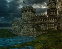 Fantasy castle with stormy clouds Stock Images