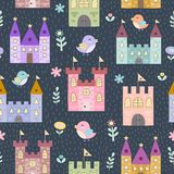 Fantasy castles and little birds seamless pattern. Vector texture in childish style great for fabric and textile, wallpapers, web page backgrounds, cards and Royalty Free Stock Images