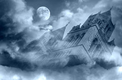 Fantasy cathedral. Fog and clouds over fantasy cathedral at night Royalty Free Stock Photos