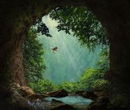 Fantasy cave in the mountains. 3D rendering. Photo manipulation royalty free illustration