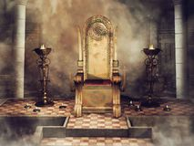 Fantasy Celtic throne with burners and candles. Fantasy throne with Celtic ornaments in an old castle with burners and candles stock illustration