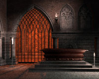 Fantasy chapel with a coffin. And candles Royalty Free Stock Photos