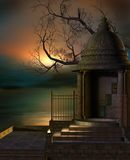 Fantasy chapel by the lake Royalty Free Stock Images