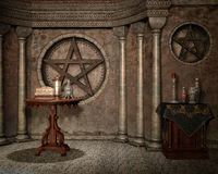 Fantasy chapel with urns. And magic symbols Stock Images