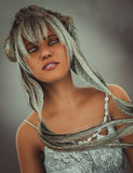 Fantasy character with silver hair Royalty Free Stock Image