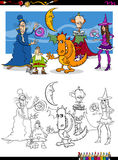 Fantasy characters coloring page Royalty Free Stock Image
