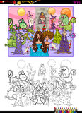 Fantasy characters coloring page Stock Photos
