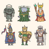 Fantasy characters icon set. Monk, Evil Lord, Nature King, Pike-man, Elf-warrior, Knight Royalty Free Stock Image