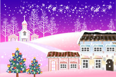 Fantasy Christmas background on snow-covered village Stock Photos