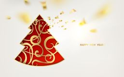 Fantasy christmas fir-tree. Red fantasy christmas fir-tree and golden confetti falls isolated over white background. Vector illustration vector illustration