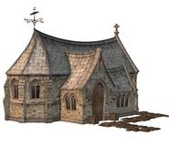Fantasy church house. 3D render of a fantasy church house Royalty Free Stock Image