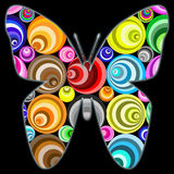 Fantasy circle butterfly. An abstract fantasy butterfly with colorful spiral circles and an outer glow to use as a header, postcard, greeting cards, labels royalty free illustration