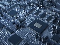 Fantasy circuit board.  HighTechnology  illustration Stock Images