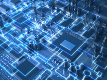 Fantasy circuit board or mainboard with glowing schemes. Top view. Stock Photo
