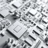 Fantasy circuit board or mainboard in white color.. Top view. Royalty Free Stock Photos