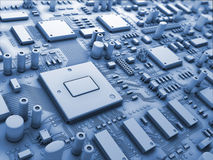 Fantasy circuit board. Technology 3d illustration. Closeup fantasy circuit board or mainboard or motherboard. Technology 3d illustration Stock Photo