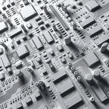 Fantasy circuit board. technology  3d illustration Stock Photos