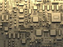 Fantasy circuit board. Top view. 3d illustration Stock Image
