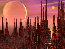 Fantasy city - 3D render Royalty Free Stock Photography